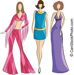 Girls 70s Fashions - Illustration of Woman Sporting Popular...
