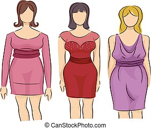 Girls Fashion Style Mannequin Plus Size Dress - Illustration...
