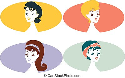 Pinup Girl Stencil Icons Set