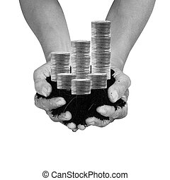 Money Bank Preserve - soil in palm hands with silver coin...