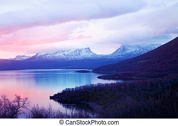 Nature Abisko Sweden - Morning light at the nature point of...