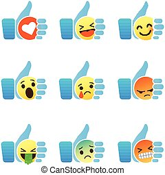 Set of Emoticons, thumb up symbol with Emoji
