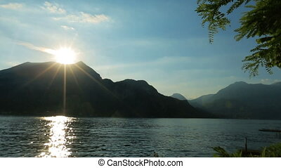 Wonderful dawn in the Como lake, Italy Honeymoon,