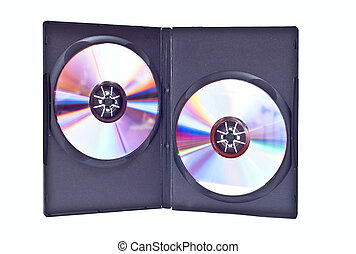 Duble dvd case - Double DVD video case wide opened with two...