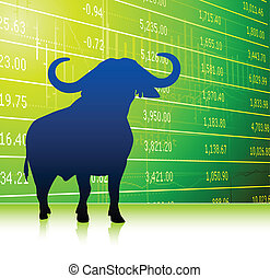 bull on stock market background Original Vector Illustration...
