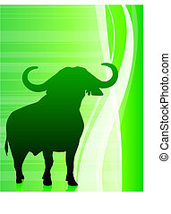 bull on abstract green background
