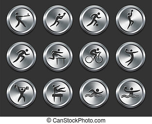 Sport Athletes Icons on Metal Internet Buttons Original...