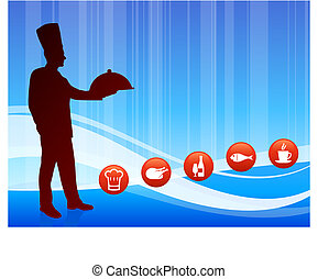 Chef on wave background with internet buttons Original...
