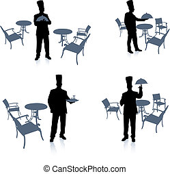 Chef silhouette at cafe Original Vector Illustration Chef on...