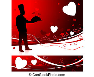 Chef on Valentine\'s day background