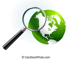 Green Globe under magnifying glass