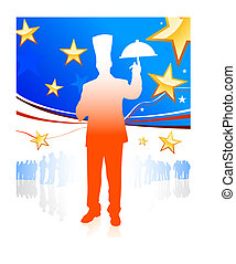 Cehf on patriotic background Original Vector Illustration...