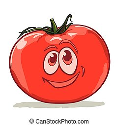 cartoon tomato smiles on a white background vector...