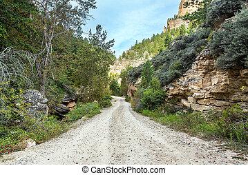 Crazy Woman Canyon - Road through Crazy Woman Canyon near...