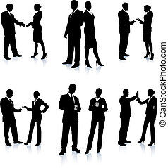 Business Team Silhouette Collection Original Vector...