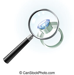 Diamond Ring under Magnifying Glass