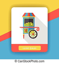 amusement snack cart stand flat icon