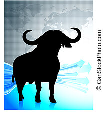 bull on world map background