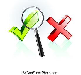 Check and X Mark under Magnifying Glass