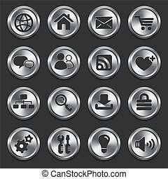 Internet Icons on Metal Buttons