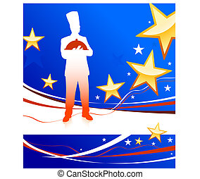 chef on patriotic background