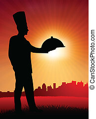 Chef on sunset background with skyline
