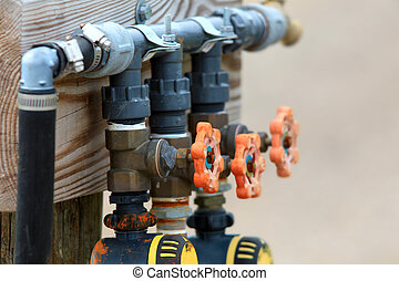 Pump valves - Water supply valves in a row