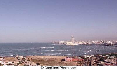 Lighthouse El Aank top view to Grande Mosquee Hassan II in...