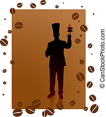 chef on coffee bean background