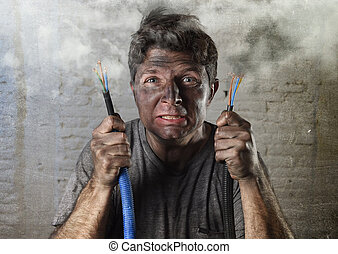 untrained man joining electrical cable suffering electrical...