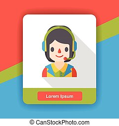 customer service occupation character flat icon
