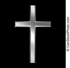 Christian cross - Silver christian cross over black...