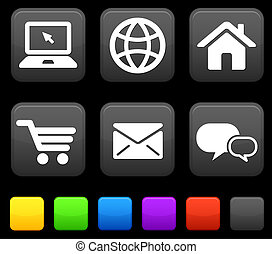 Internet Icons on Square Buttons