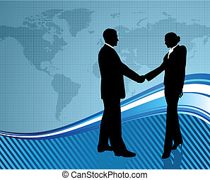 Business greeting with world map