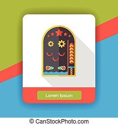 Pinball game flat icon