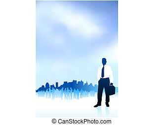 Original Vector Illustration: businessman traveler internet background with city skyline and group