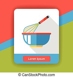 Eggbeater and bowl flat icon