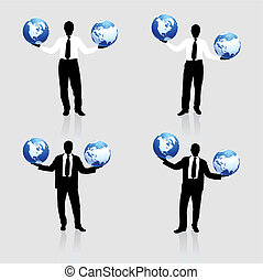 Young business man with globe silhouettes