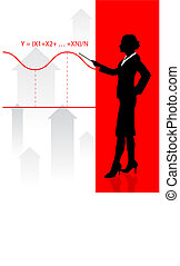 Business woman on background with financial equation
