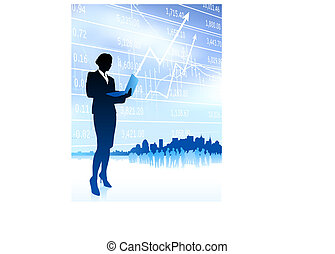 Original Vector Illustration: businesswoman holding computer laptop internet background with city and stocks