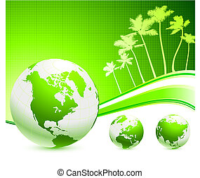 green globes on internet background with palm trees
