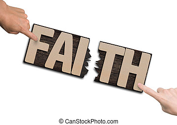 Man woman forefingers combining two cracked FAITH word...