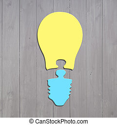 Bulb shape puzzles of two jigsaw pieces