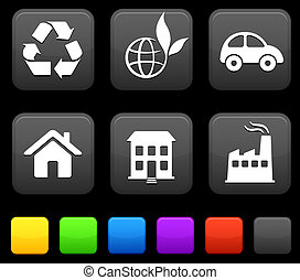 Nature Environment icons on square internet buttons
