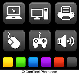 Technology Icons on Square Internet Buttons Original vector...