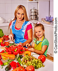 Mother and child cooking at kitchen. - Mother and daughter...