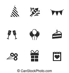 Set birthday, celebration or party icons. Vector illustration