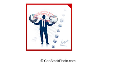 Businessman with globes on corporate elegance background