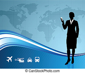 Female Business traveler on global communication background