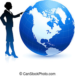 Business woman pointing at globe
